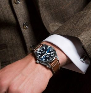 tweed suit with IWC watch