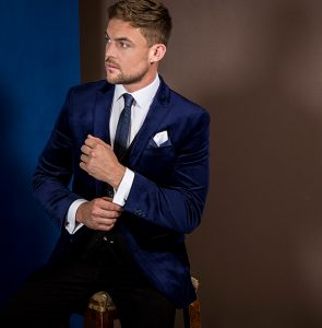 midnight blue velvet blazer