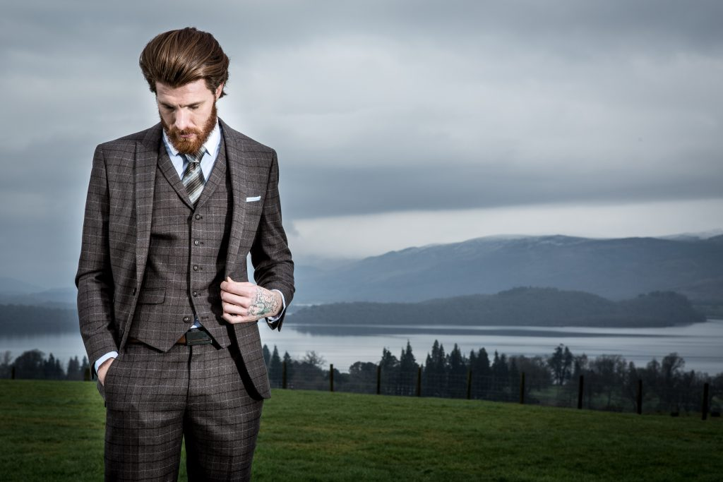 BROWN CHECK TAILORED SUIT