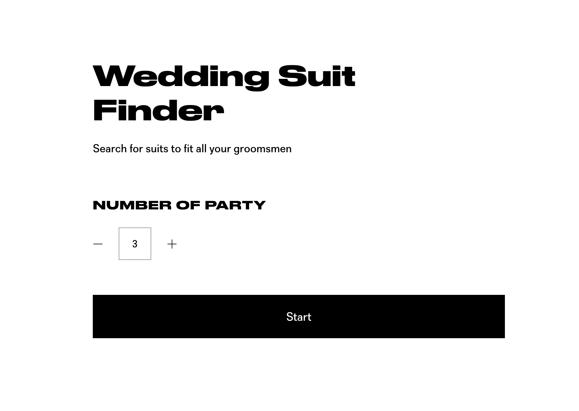 Preview of Slater Menswear wedding suit finder tool